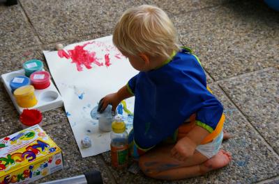 malen auf der Terrasse